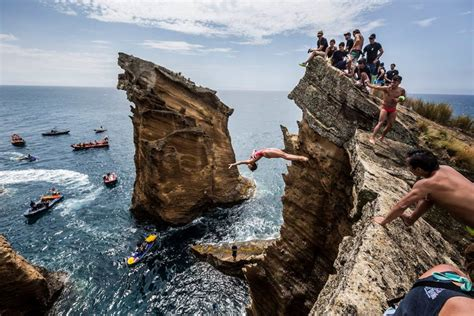 bull high dive cliff diving in azores redbull cliff diving