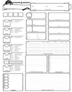 Dungeons and dragons character sheet 5th