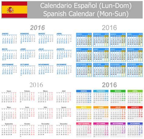 grid layout en espanol spanish 2016 grid calendar vector material 02 vector
