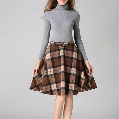 khaki green plaid skirts 2016 autumn winter plus