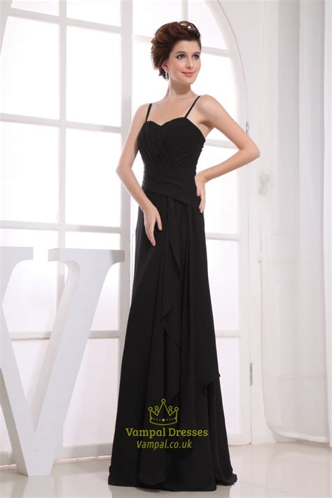 black chiffon floor length bridesmaid dress black chiffon