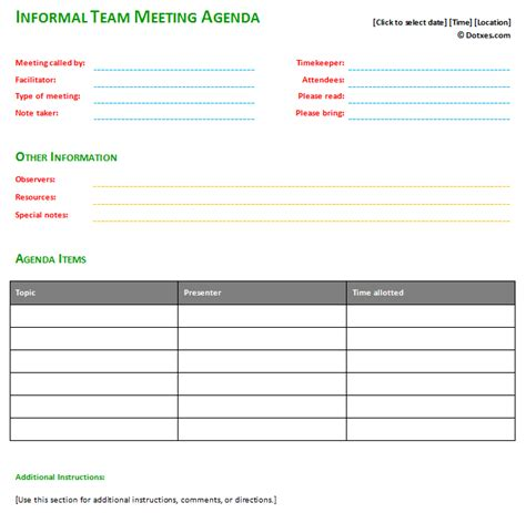 informal meeting minutes template informal meeting agenda template with basic format