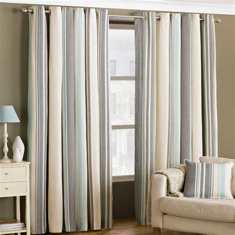 striped duck egg curtains riva home broadway stripe woven lined eyelet curtains ebay