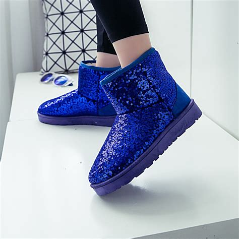 Glitter Snow Boots winter snow boots bling glitter ankle boots on luulla
