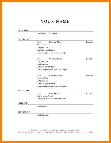 Simple Resume Format Doc File Free 5 Simple Resume Templates Free Janitor Resume