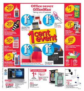 Office Depot One Cent Sale Office Depot Office Max Deals For Back To School
