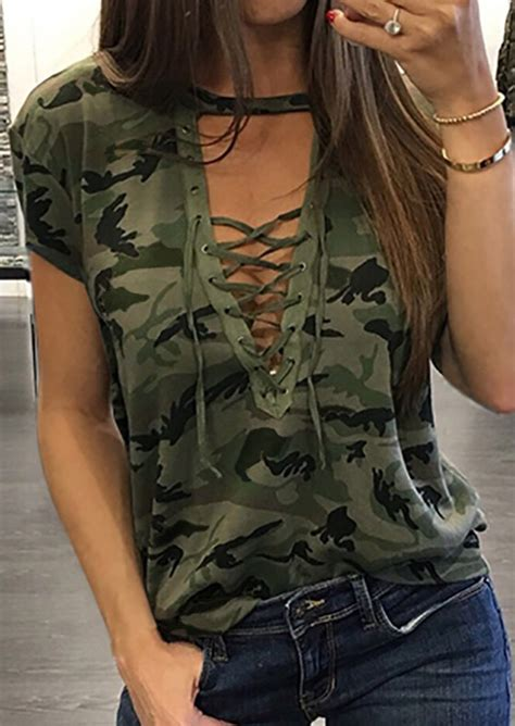 Blouse Fs05 Jfashion lace up camouflage printed blouse fairyseason