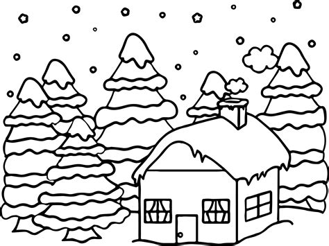 house or cabin in the woods covered in snow in the winter