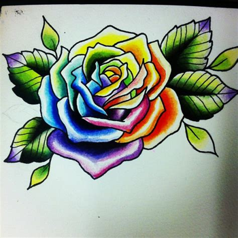 colored rose tattoo colorful www pixshark images galleries