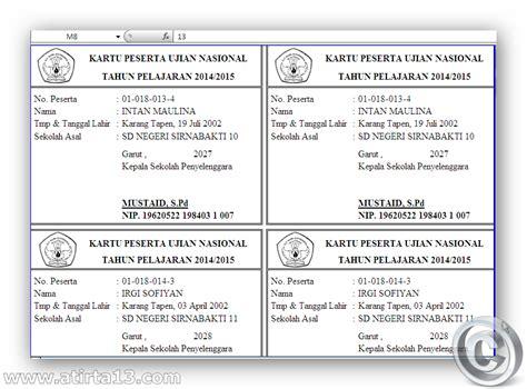 format daftar hadir peserta try out aplikasi cetak kartu ujian nasional sd mi tahun 2015
