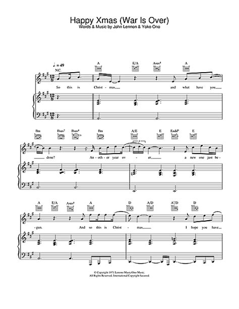 tutorial piano war is over happy xmas war is over sheet music by the pop idol
