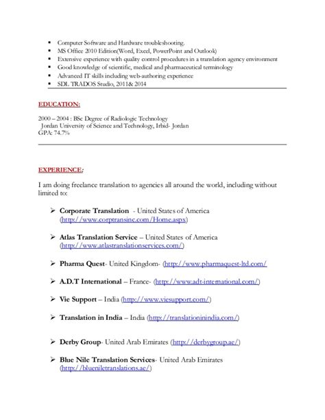 Translator Resume Exle by Translator Cv