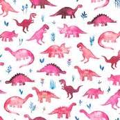 girly nerd wallpaper tiny dinos in magenta and coral on white small print