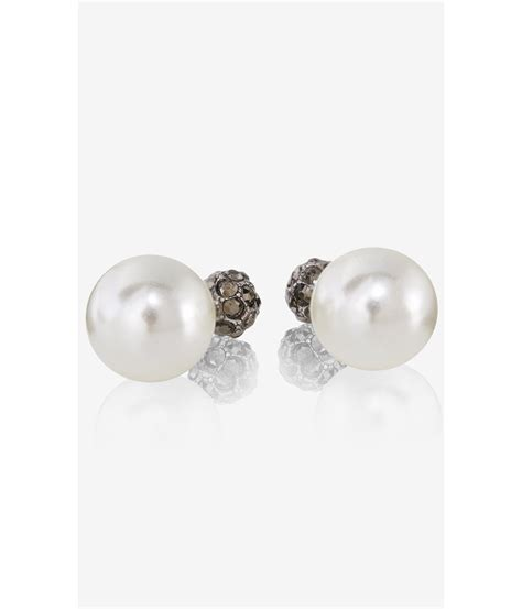 express fireball front and back stud earrings in white