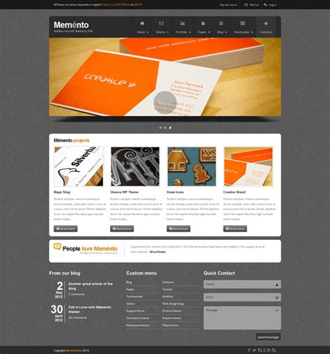 create template from html memento a free html template