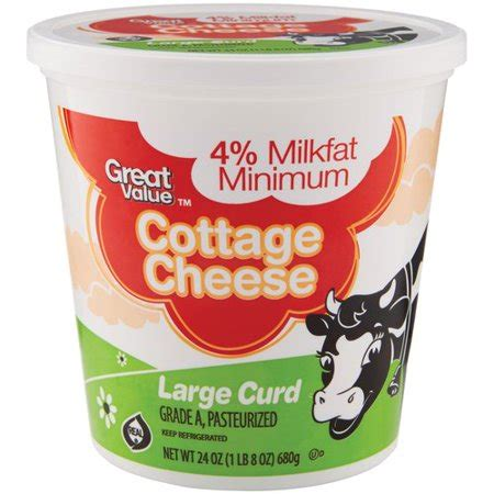 cottage cheese price great value large curd cottage cheese 24 oz walmart