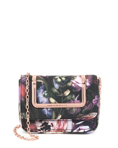 ted baker sefina shadow floral clutch bag in multicolor