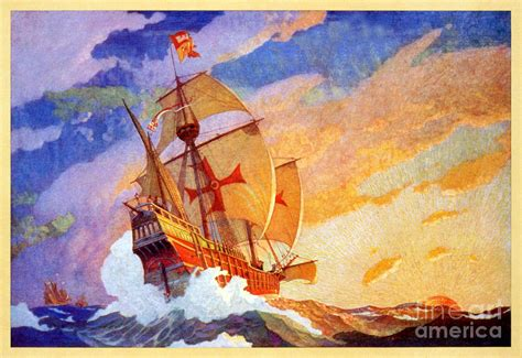 painting explorer ships of christopher columbus at sea vintage painting by