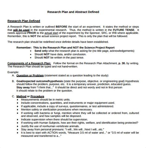 Research Plan Template 11 Sle Research Plan Templates Sle Templates