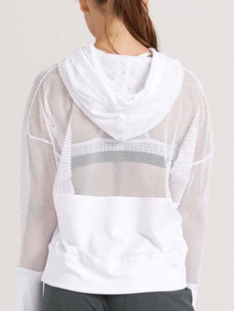 Jaket Sweater Hoodie White Jacket White Sweater Hoodie Sweatshirt Mesh See