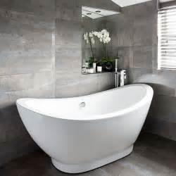 grey tiled bathroom ideas grey bathroom with slipper bath decorating housetohome