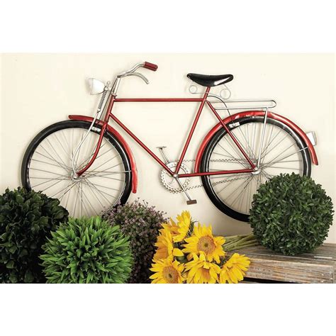 bicycle decorations home american home 36 in x 19 in vintage red iron bicycle