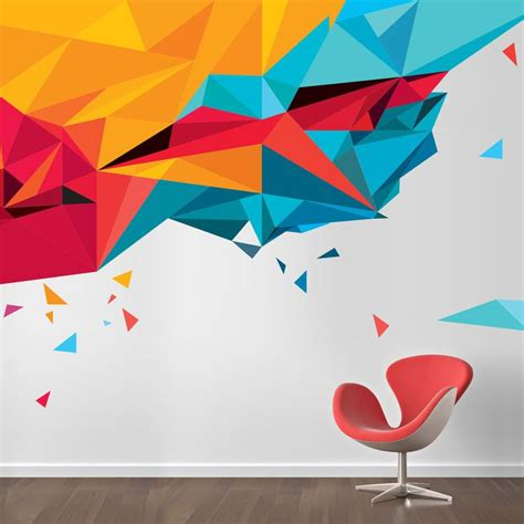 abstract triangles wall sticker design office wall art