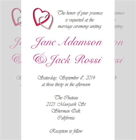format for invitation of wedding reception 28 wedding reception invitation templates free sle exle format free