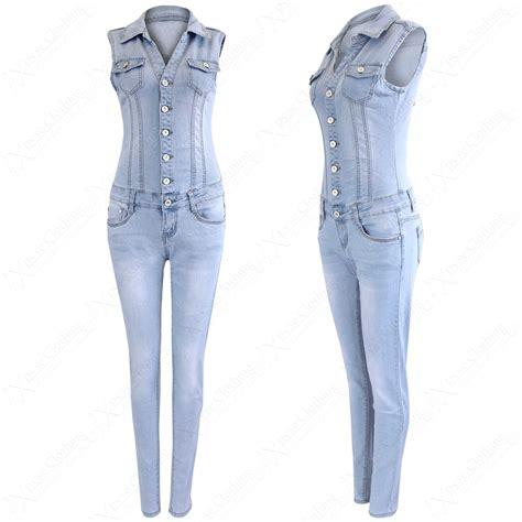 Jumpsuit Instyel 2in1 denim jumpsuit womens sleeveless distressed