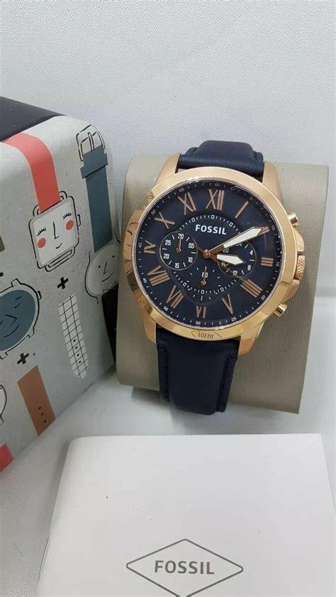jam tangan pria fossil fs  rosegold leather original