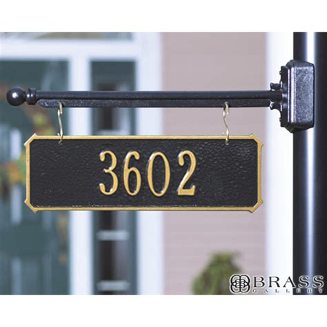 hanging house numbers for l post whitehall one line two sided hanging rectangle address