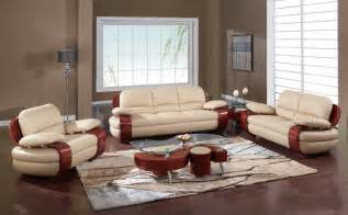 Living Room Setting by Plush Padded Arm Leather Covered Living Room Set