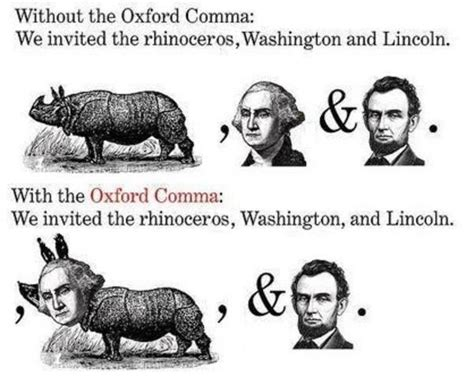 Oxford Comma Meme - abraham lincoln george washington and a rhinoceros