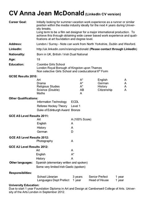Sample Resume For College Student Looking For Summer Job by Cv Anna Mc Donald August 2012 Pdf Version For Web