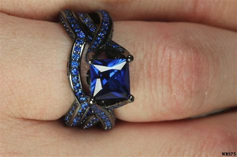 Details about Womens Gothic Black & Blue Sapphire Sterling