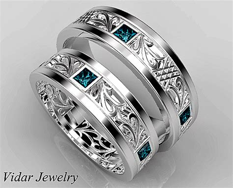 Wedding Rings Matching Sets by Princess Cut Blue Matching Wedding Ring Set