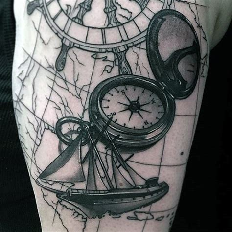 sailing ship with worls map amp compass tattoo