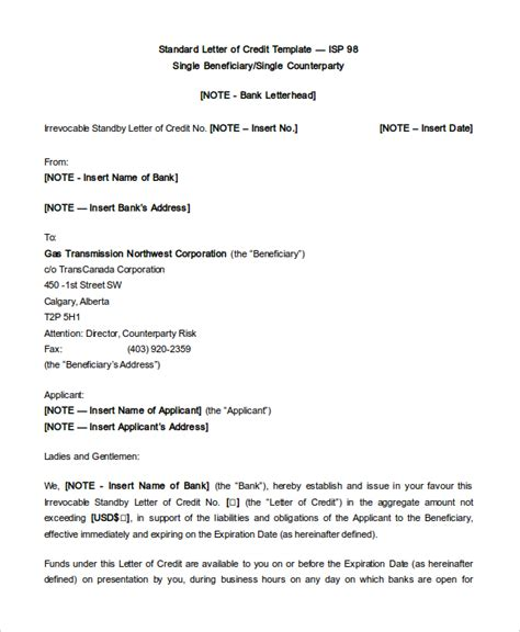 Letter Of Credit Rbc Standby Letter Of Credit Format India Docoments Ojazlink