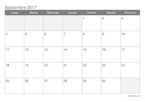 Calendario Septiembre 2017 Chile Calendario Septiembre 2017 Para Imprimir Icalendario Net