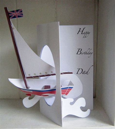 sailboat pop up card template pop up personalised handmade sailing boat birthday card