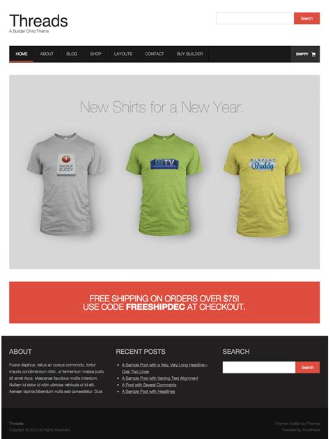wordpress themes for house builders threads a new builder child theme for t shirt shops