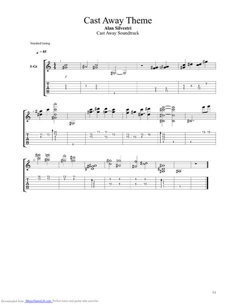 cast away song cast away theme guitar pro tab by misc soundtrack