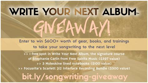 Free Online Giveaways - win everything you need to write your next album