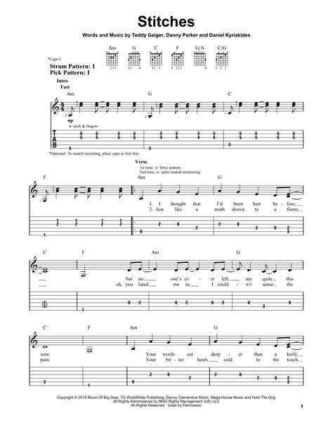 tutorial guitar stitches stitches sheet music by shawn mendes easy guitar tab