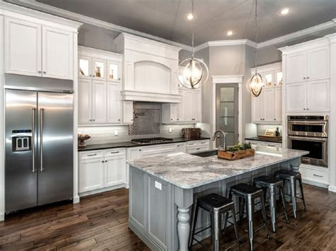 Remodeled Kitchens With White Cabinets Classic L Shaped Kitchen Remodel With White Cabinet And Gray Island Marble Countertop Amazing