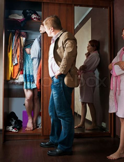 Husband Is In The Closet by Lover In The Closet Stock Photo Colourbox