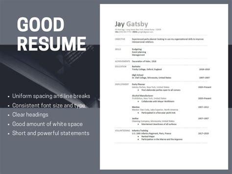 resumes versus bad resumes