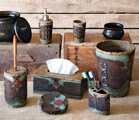 Western Bathroom Sets Turquoise Horseshoe And Cross Bath Accessories