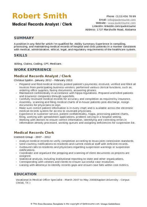 Records Analyst Cover Letter by Records Analyst Resume Sles Qwikresume