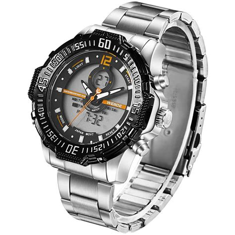 Jam Gc Stainless Steel weide jam tangan pria stainless steel wh6105 black orange jakartanotebook